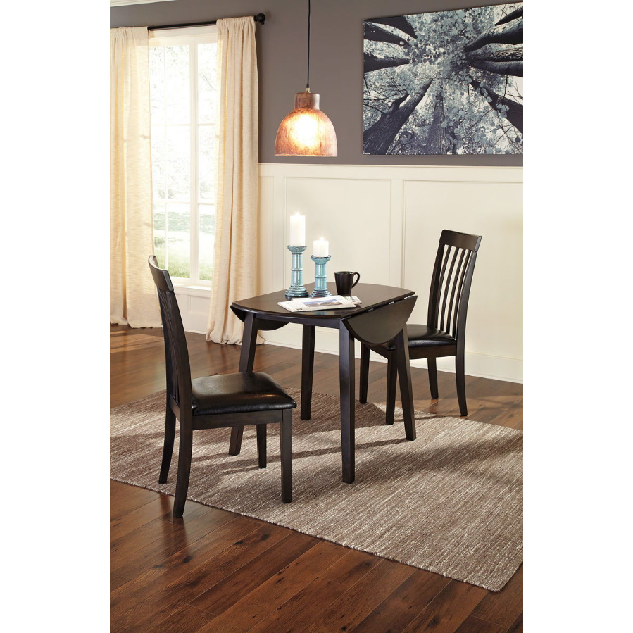 Hammis - Dark Brown - 3 Pc. - Round DRM Drop Leaf Table & 2 UPH Side Chairs