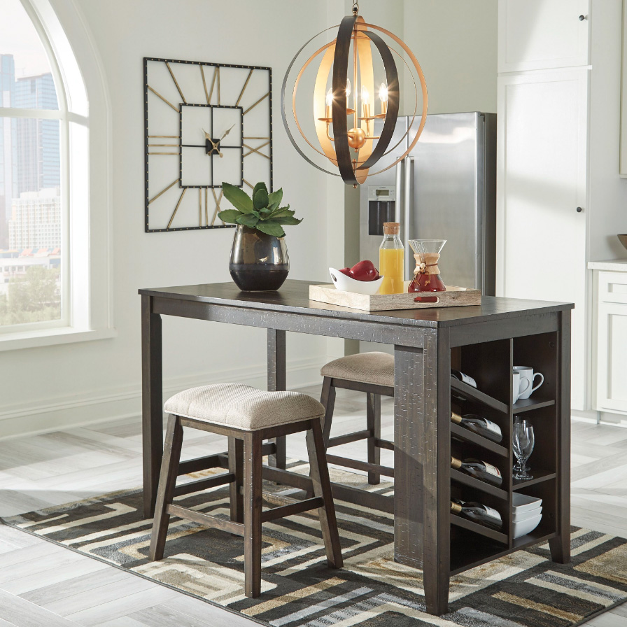 Rokane - Brown - 3 Pc. - RECT Counter Table with Storage & 2 UPH Stools