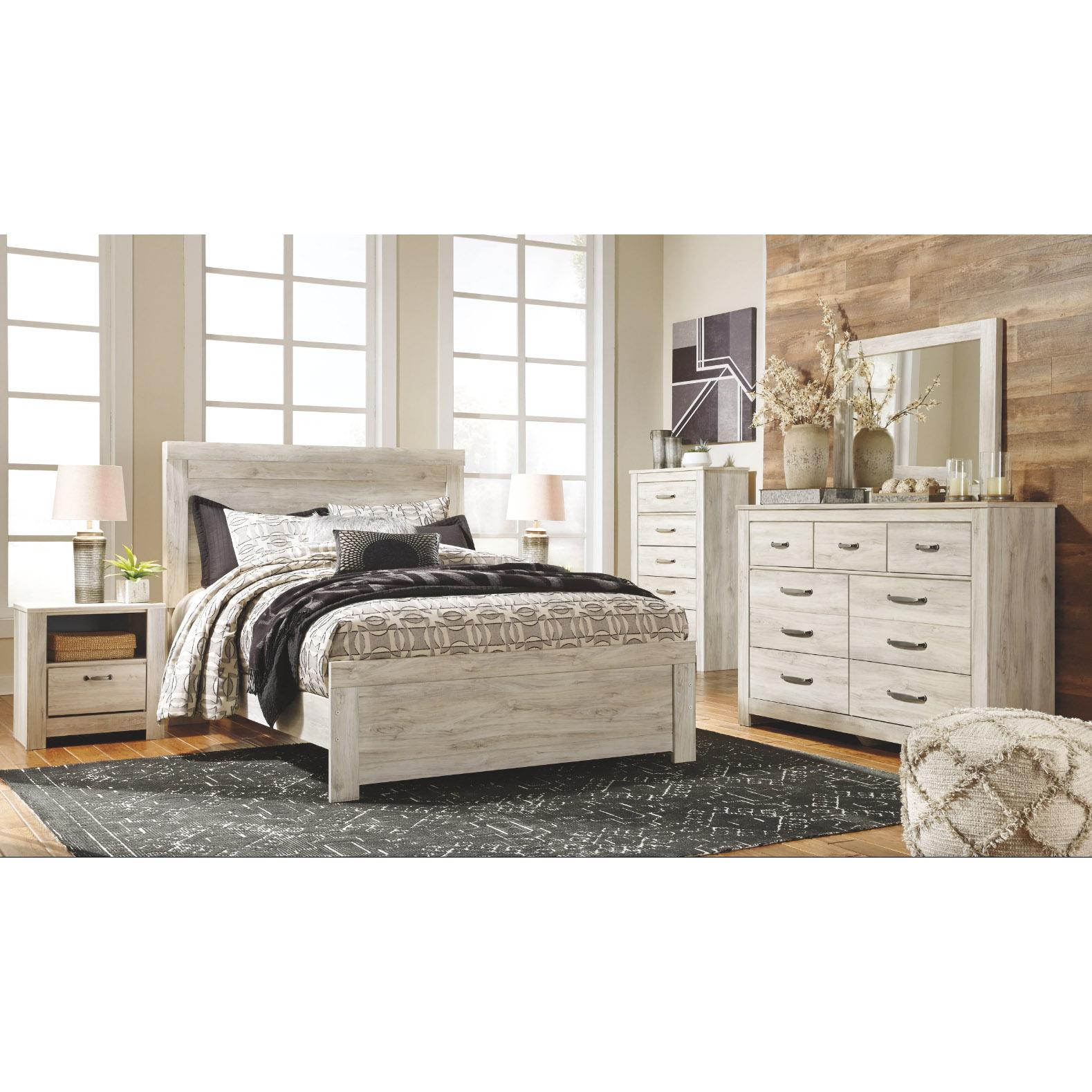 Bellaby - Whitewash - 6 Pc. - Dresser, Mirror, Chest & Queen Panel Bed