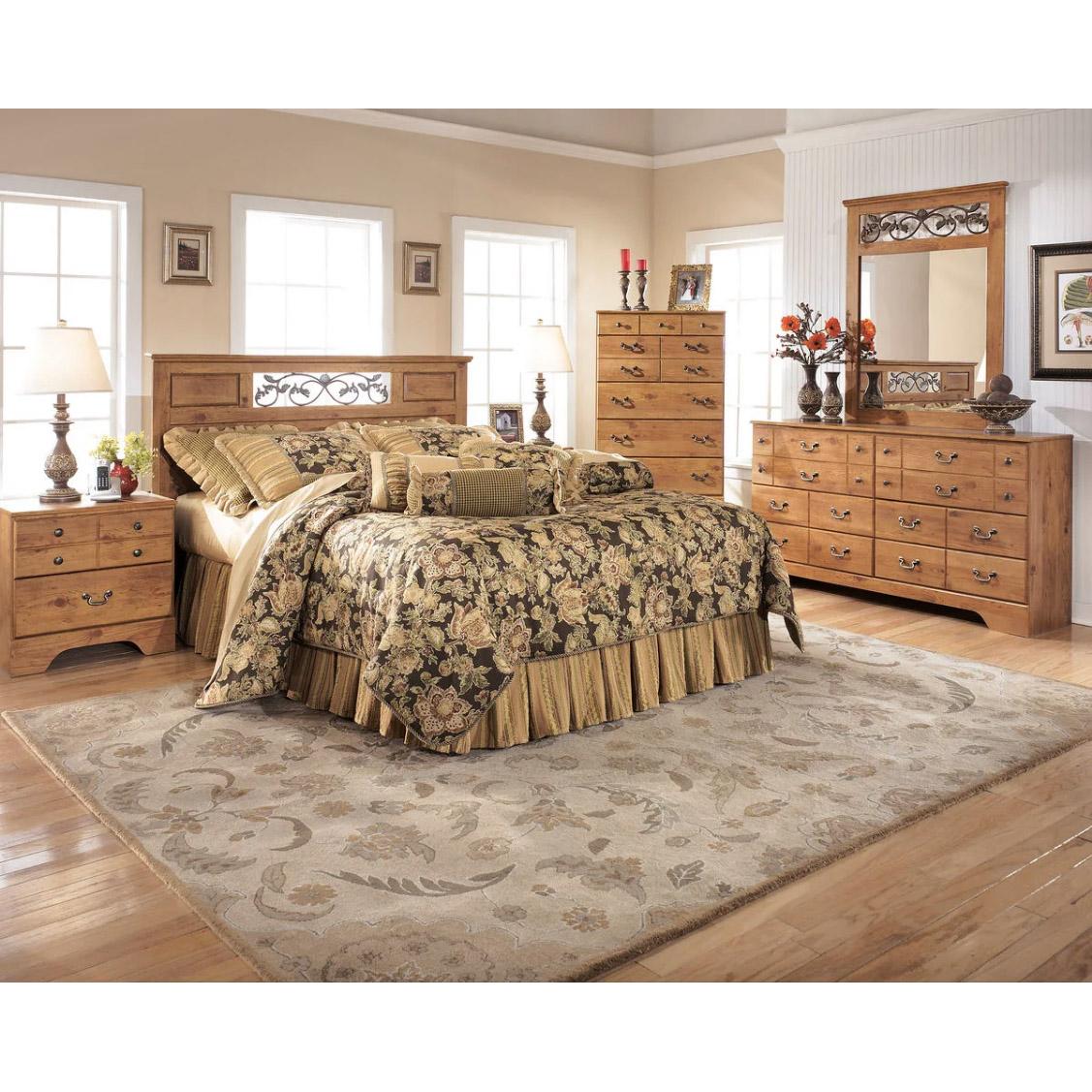Bittersweet - Light Brown - 6 Pc. - Dresser, Mirror, Chest, Queen Panel Headboard & 2 Nightstands