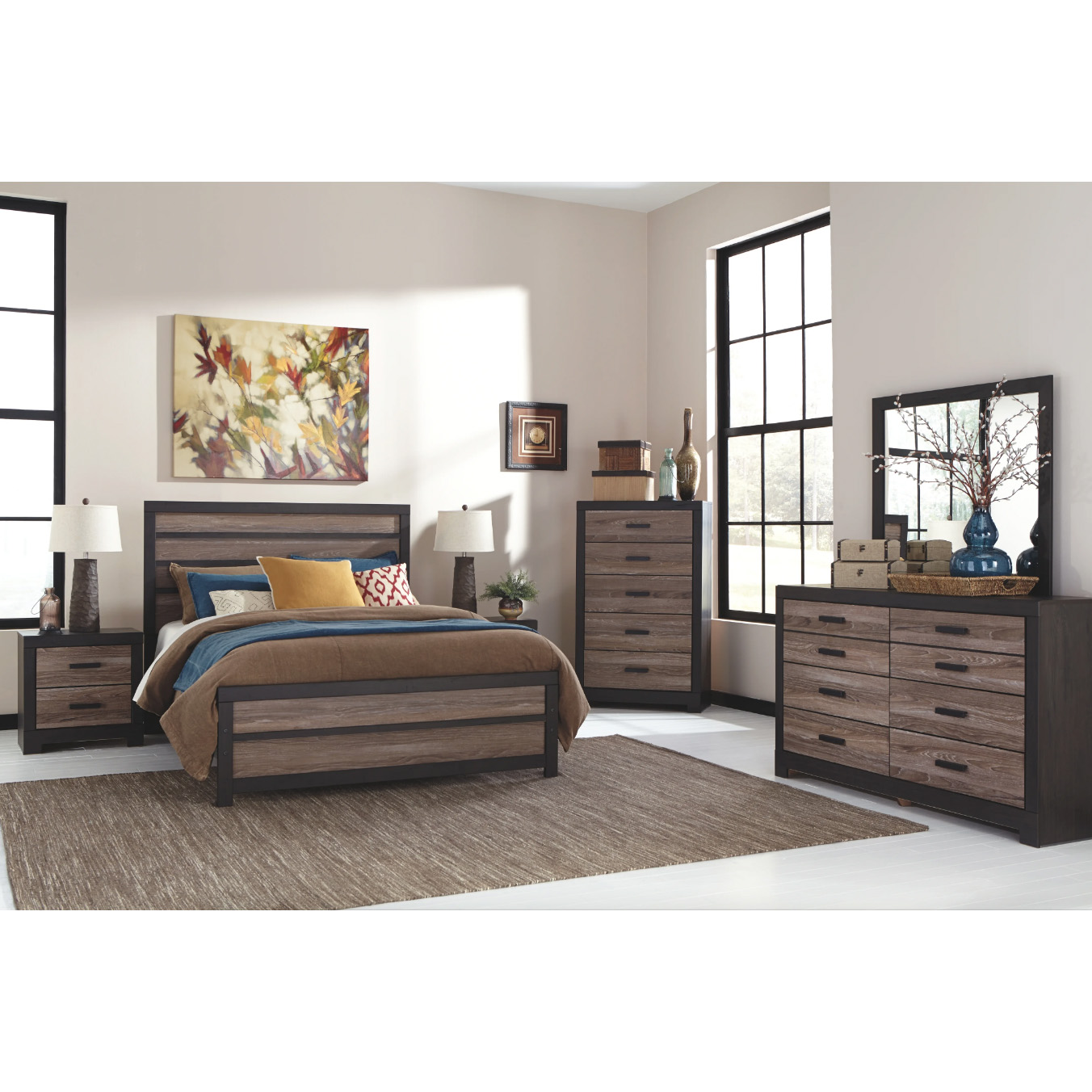 Harlinton - Warm Gray/Charcoal - 6 Pc. - Dresser, Mirror, Chest & Queen Panel Bed