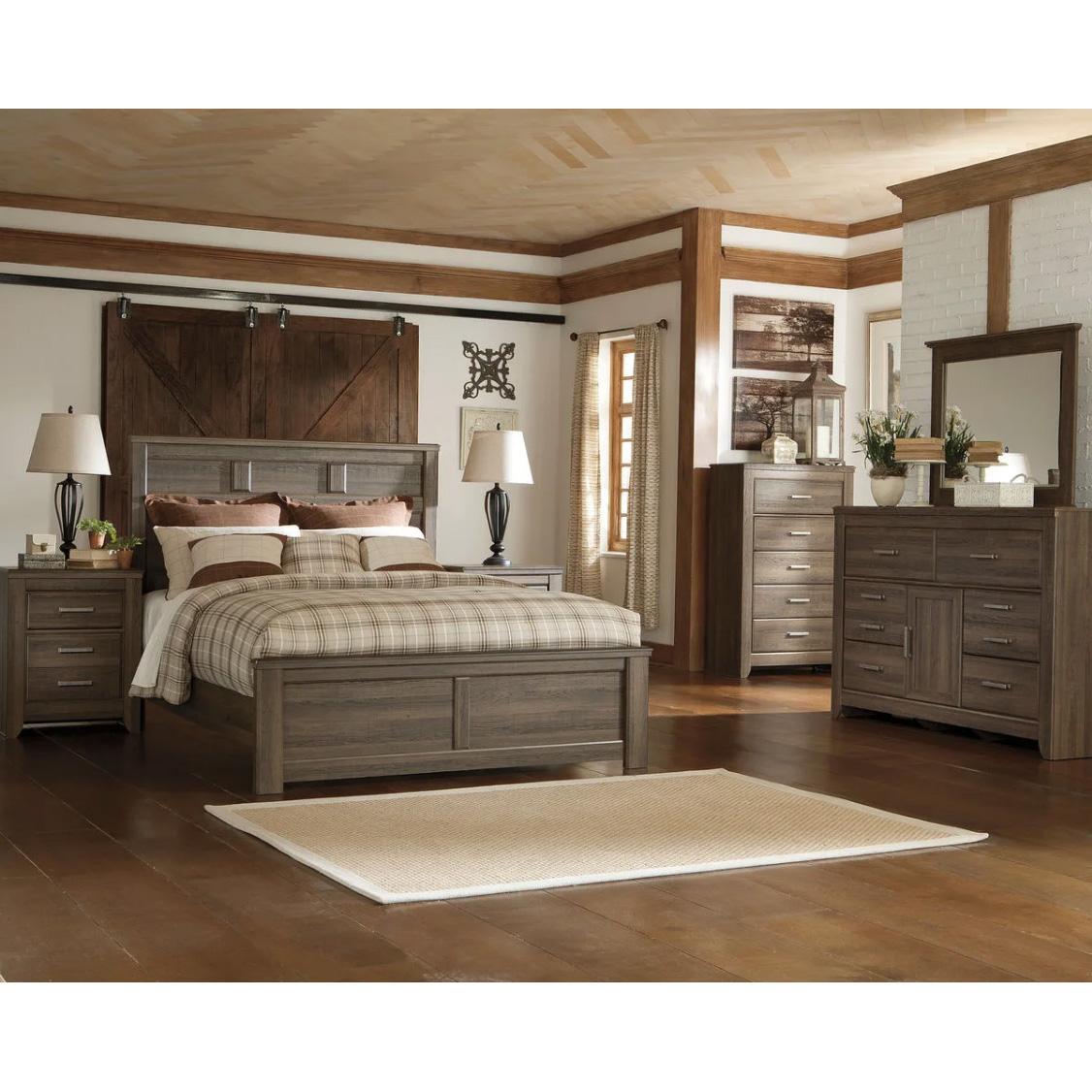 Juararo - Dark Brown - 6 Pc. - Dresser, Mirror, Chest & Queen Panel Bed